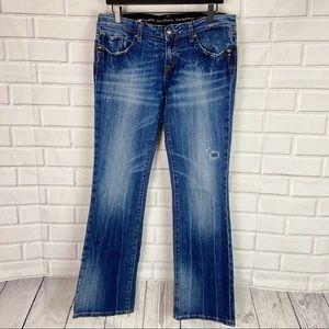 Rerock Express boot cut distressed denim jeans 10